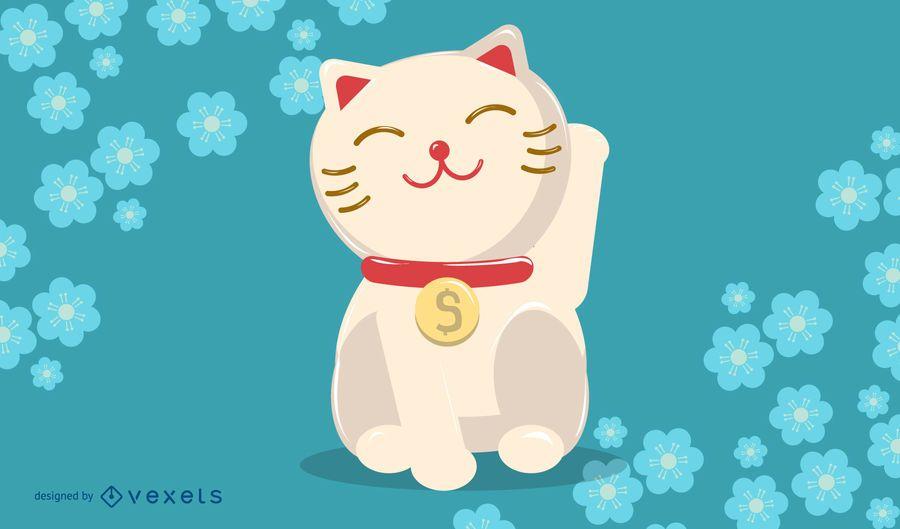 Lucky Cat Cartoon Illustration