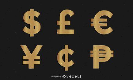 Símbolos de dinheiro dourado