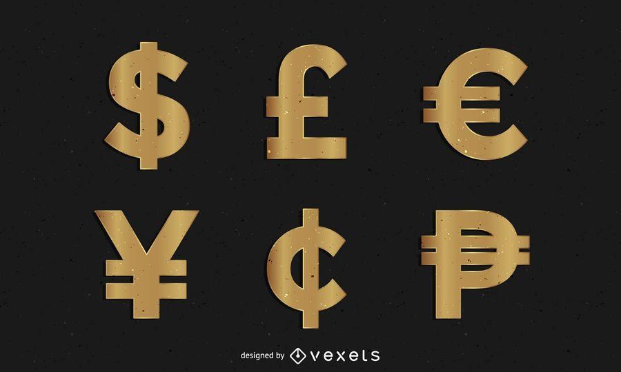 Golden Money Symbols - Vector downloadMoney Logo Symbols
