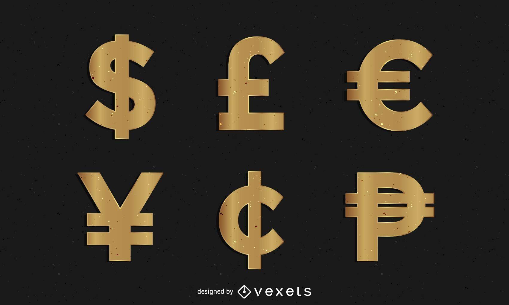 Símbolos de dinero dorado