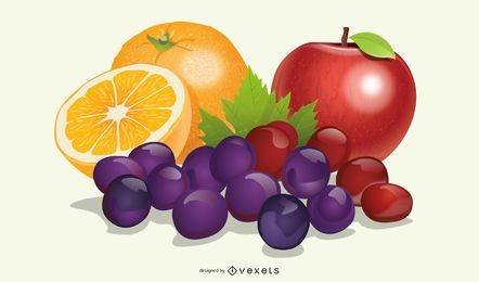 Set de frutas realistas