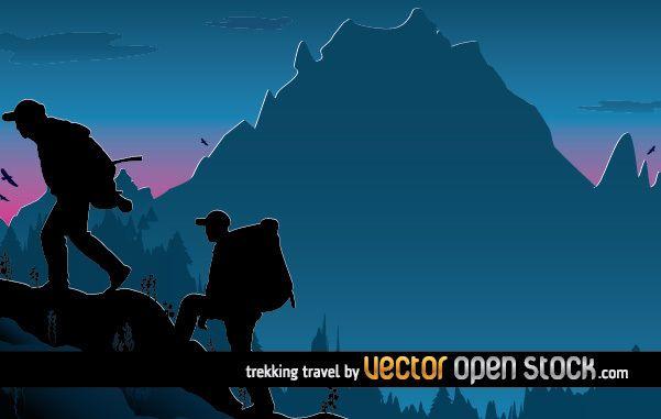 Diseño de ilustración de viajes de trekking