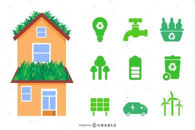 Ecología casa conjunto de vectores