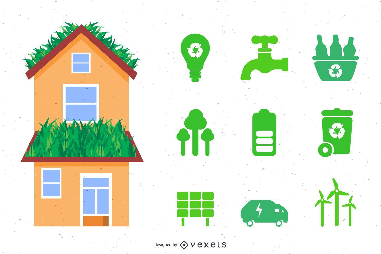 Ecology House Set Vector