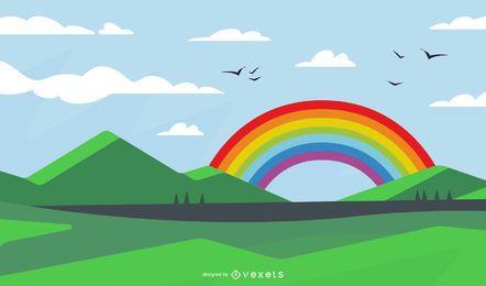 Paisaje verde fresco con el arco iris