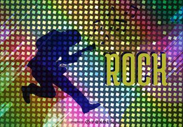 Vetor de pôster de estrela do rock psicodélico
