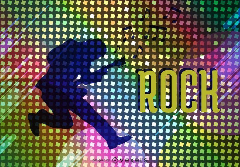 Vector de cartel de la estrella de rock psicodélico