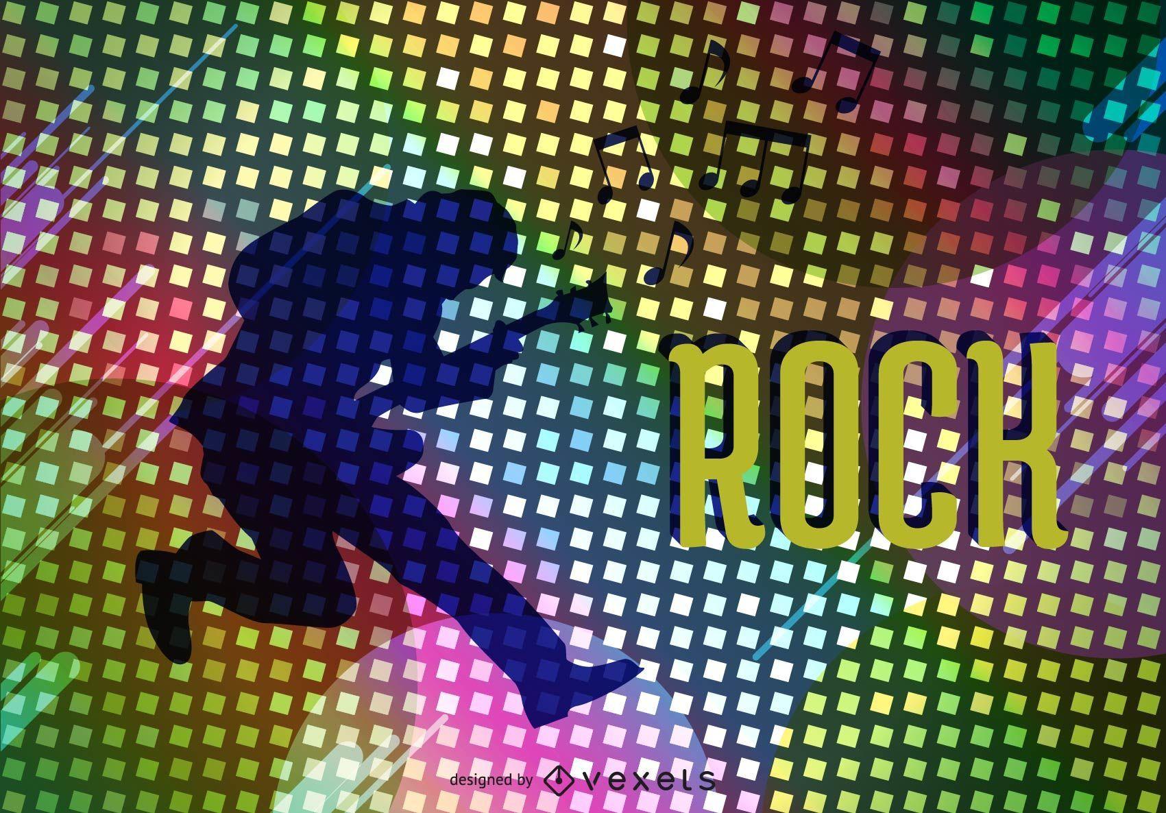 Vector de cartel de estrella de rock psicodélico