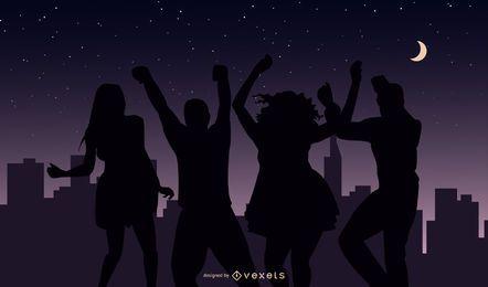 vetor de vida noturna de festa