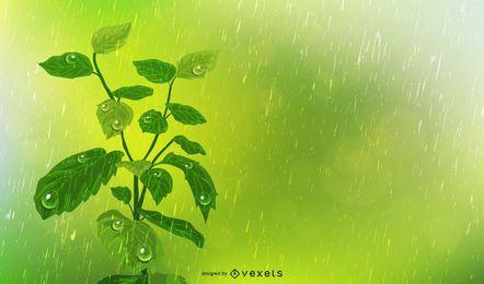 Pflanzen Sie im Regen