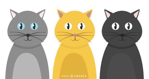 Conjunto de gatos sociales