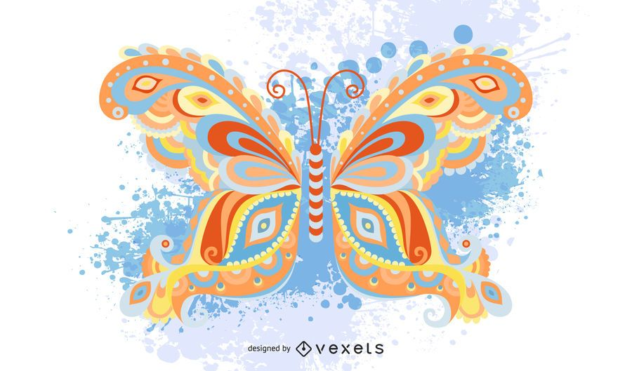 Mariposa multicolor gráfico