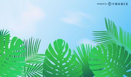 Ilustração em vetor linda folha verde fundo