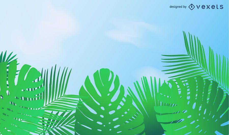 Schöne grüne Blatt-Hintergrund-Vektor-Illustration