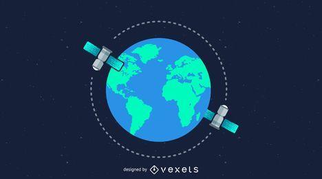 Globo con satélites alrededor