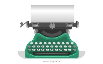 Velha máquina de escrever com um papel