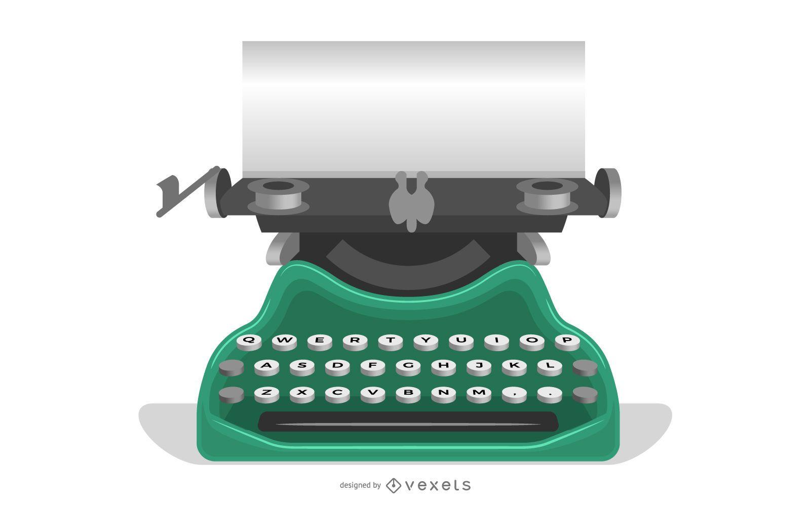 Vieja máquina de escribir con un papel