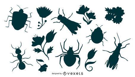 Conjunto de silueta de flores e insectos