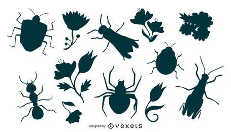 Flowers & Insects Silhouette Set