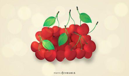 Monte de suculentas cerejas frescas
