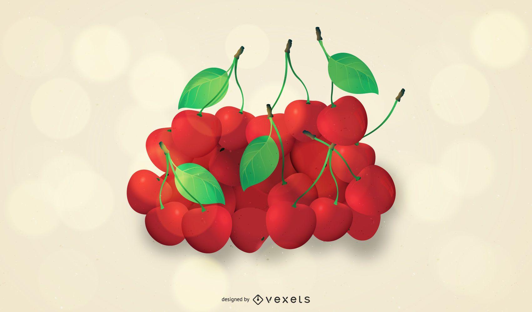 Hill of juicy fresh cherries