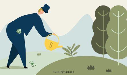 Europäischer Bankier kümmert sich um seine Investition