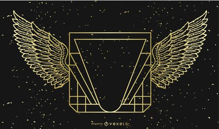 Estandarte dorado negro con alas