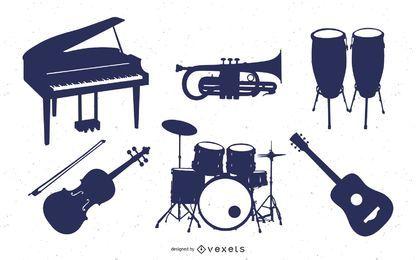 Conjunto de silhueta de instrumento de música