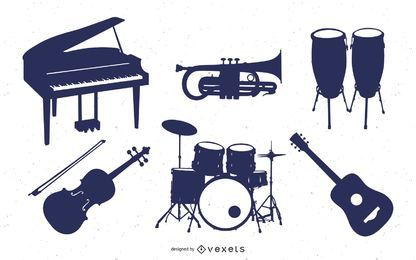 Music Instrument Silhouette Set