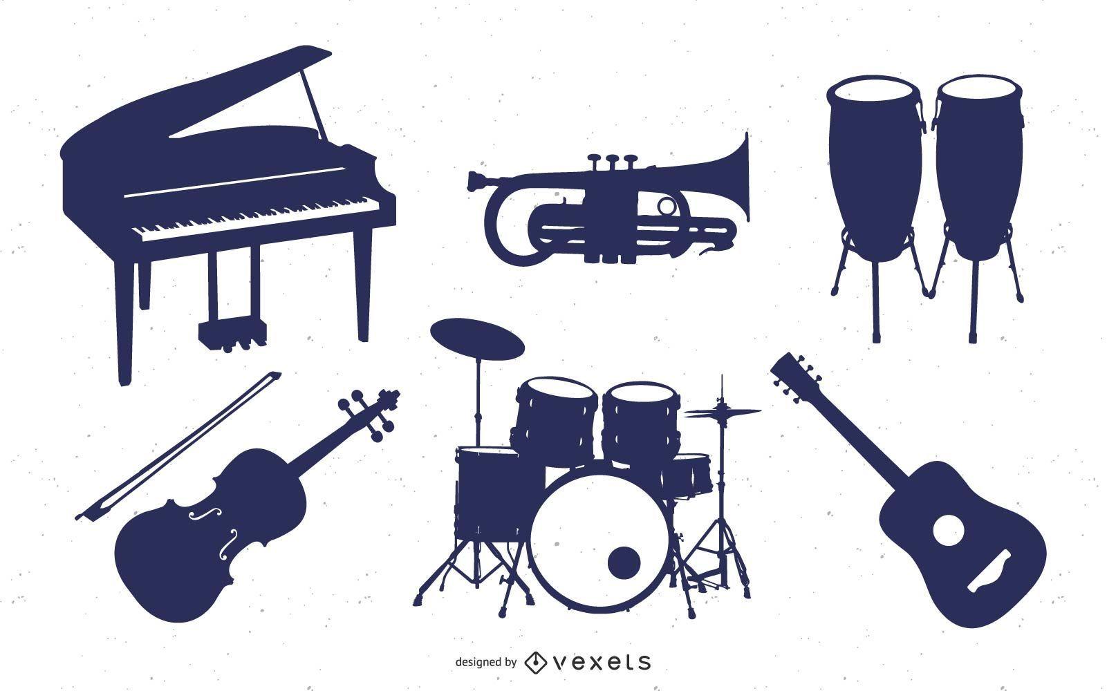 Music Instrument Silhouette Set