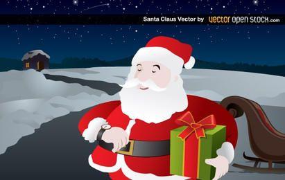 Papai Noel entregando presente