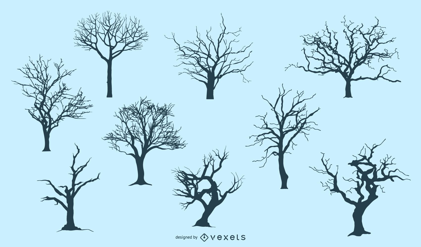 7 silhuetas de árvores