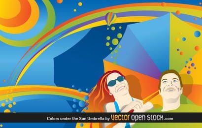 Paraguas de colores bajo el sol
