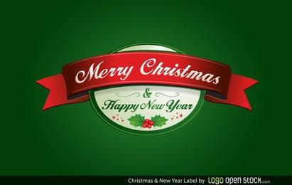 Christmas and New Year Label