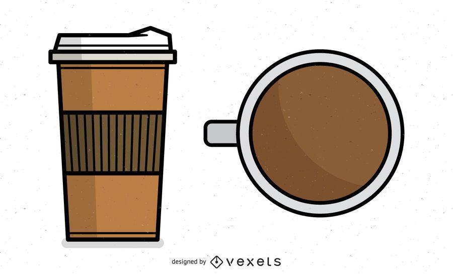 Café en taza y taza de espuma de poliestireno