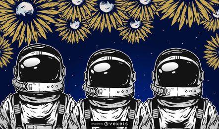 Gráficos vectoriales de astronauta
