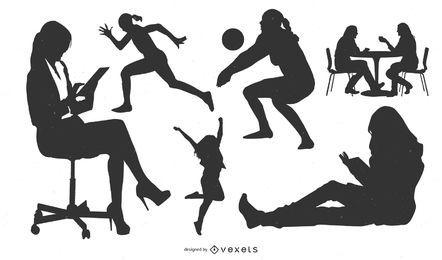 Conjunto de vectores de estilo de vida de niña 1.