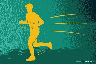 Running Action Man Silhouette Vector Illustration