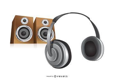 Fone de ouvido e alto-falantes de música