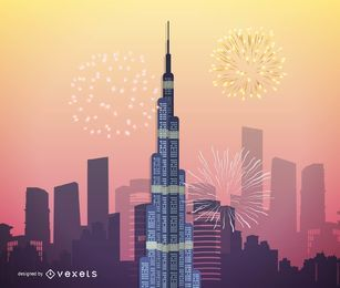 Arte vetorial de Burj Khalifa, maior arranha-céu de Dubai