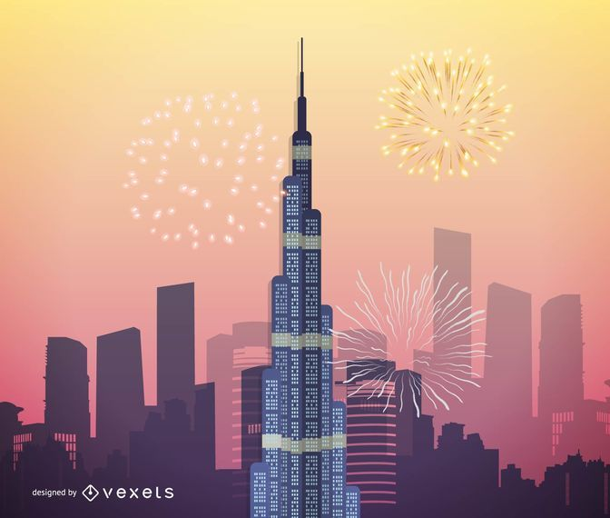 Burj Khalifa Vector Art, Dubai Highest Skyscraper