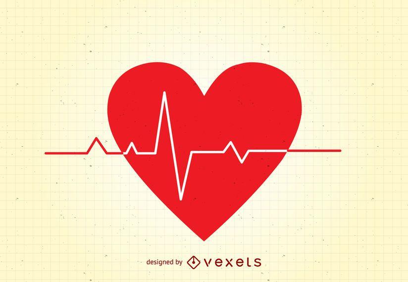 Coração com linha de vida