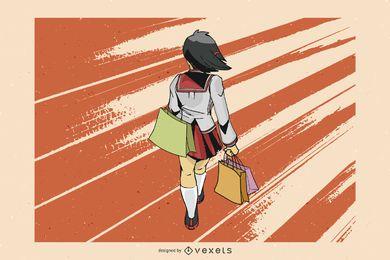 Vetor de menina compras de anime