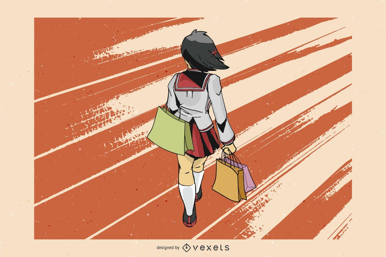 Vector de chica de compras de anime