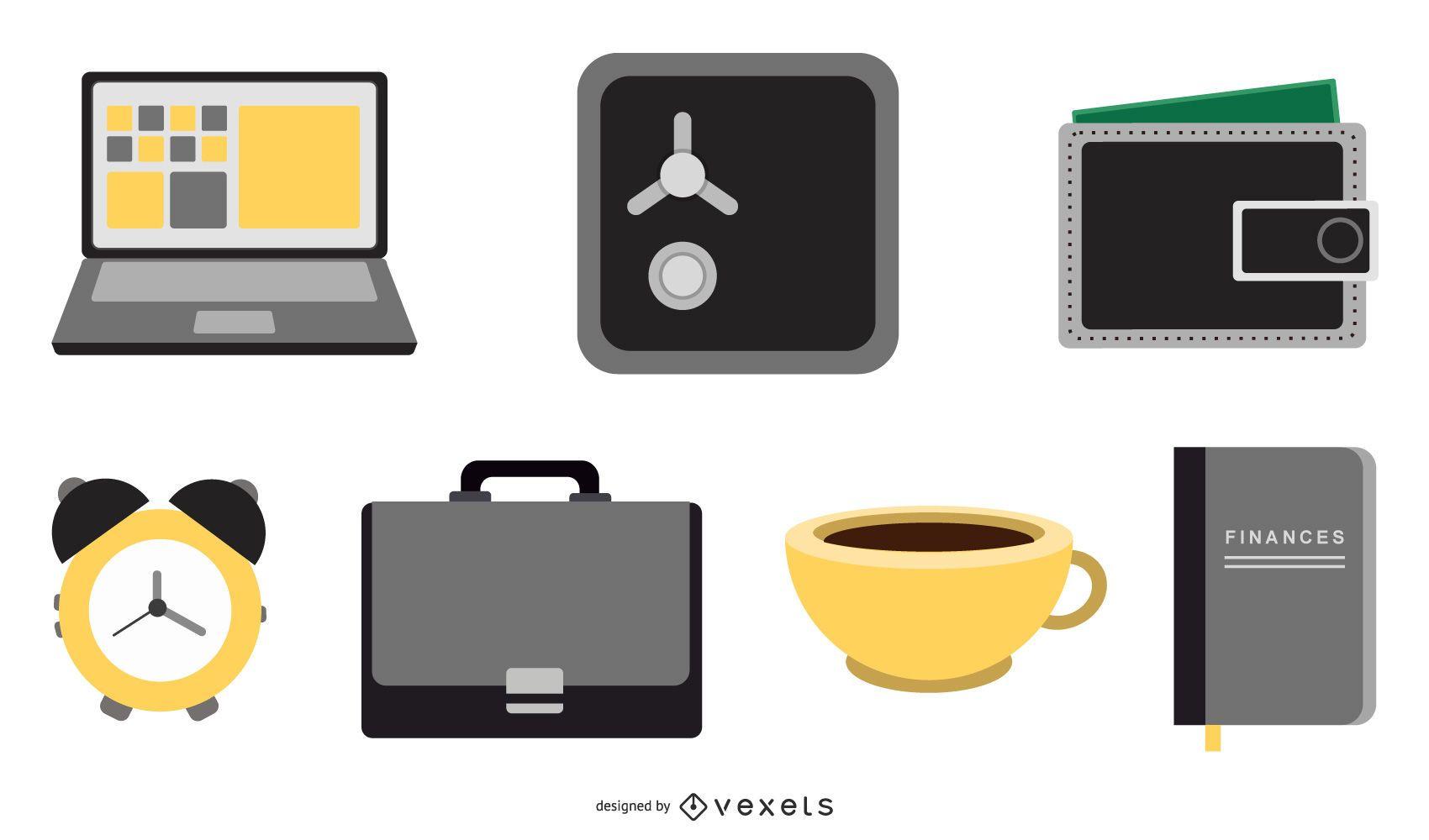 Ícones 3D financeiros e de negócios da Web