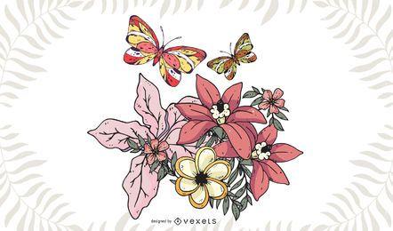 Mariposa en flores