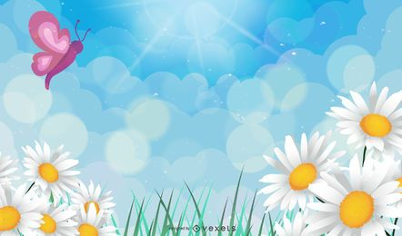 Vector fondo floral con mariposa