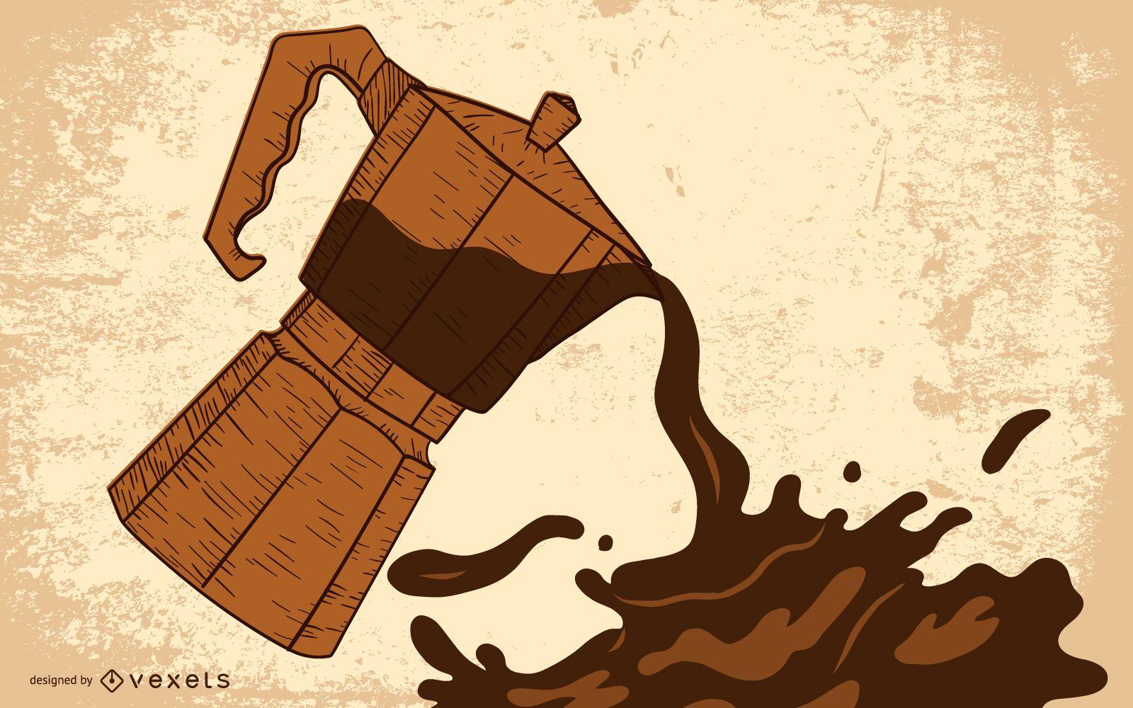Grão de café pingando
