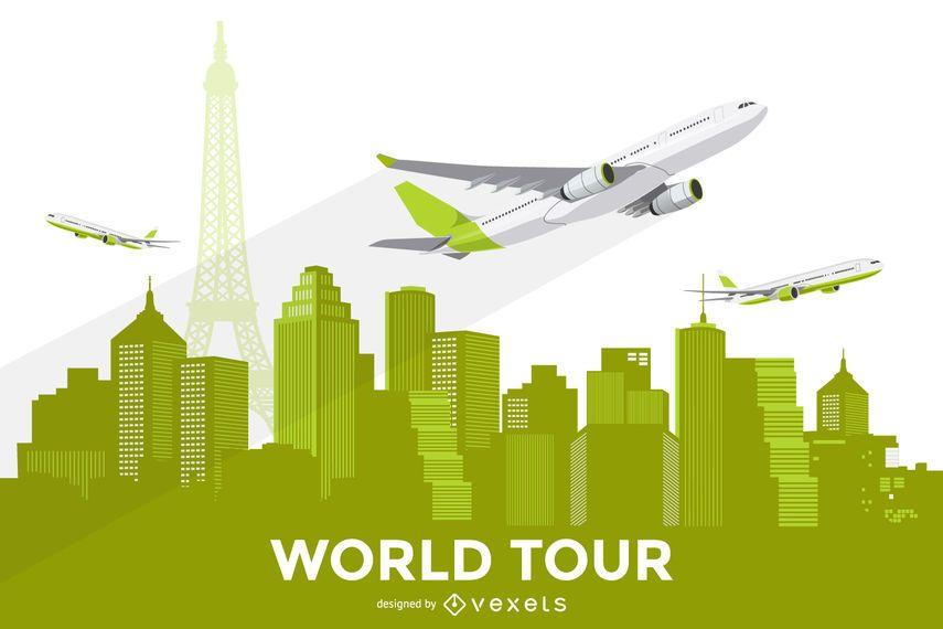 Horizonte de la ciudad con ilustración de avión