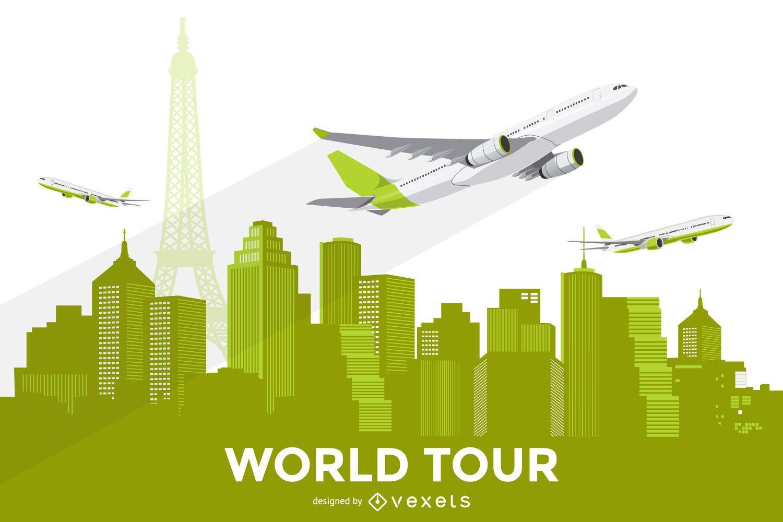 City skyline with plane illustration